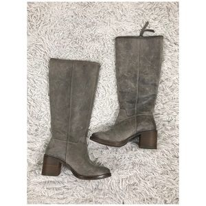 Lucky Brand Resper Gray Tall Riding Leather Boots